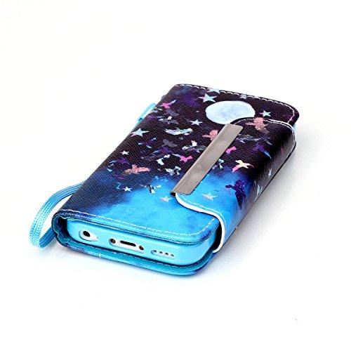 Coque pour iPhone 5C, Etui pour iPhone 5C, ISAKEN Peinture Style PU Cuir Flip Magnétique Portefeuille Etui Housse de Protection Coque Étui Case Cover avec Portable Dragonne Stand Support et Carte de C Nuit Oiseau