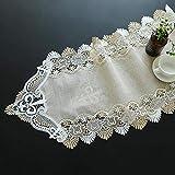 Chemin de table, dentelle creuse exquise beige de coton et de lin de la mode Chemin de table imprimé minimaliste moderne de tissu de Tableau de tissu coin long paragraphe Tv Cabinet Cloth50Cm X 120Cm