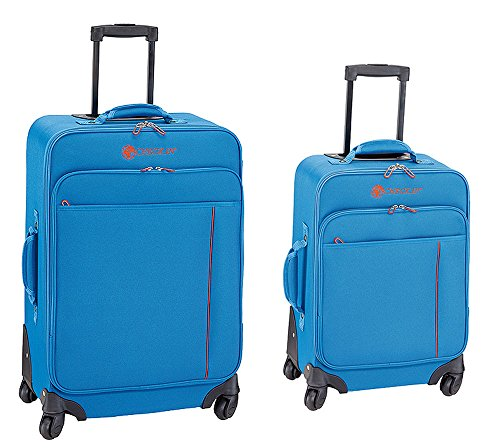 Reisekoffer Set 2-teilig Koffer Trolley 4 Rollen Modell MADRID Extra Leicht (Blau)