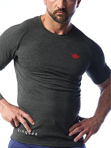 Funktionsshirt kinquee Trainingsshirt Sportshirt Fitness Crossfit Bodybuilding Gym Shirt (schwarz, weiß, grau) Herren T-Shirt Kompressionsshirt (Anthrazit, L)