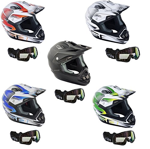 Caschi moto ~ gsb xp-14b casco motocross off road quad pitbike atv enduro, mx casco sportivo racing con occhiali, nero opaco (s)