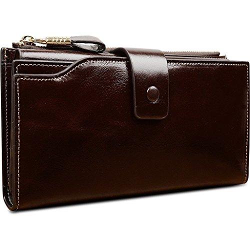 VANCOO Große Kapazität Luxus Wax Frauen-echtes Leder-Geldbörse mit Reißverschluss-Tasche (hochgradigem-Paket) (Coffee) (Leder Coffee Tasche)