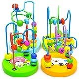 Bébé jouets en bois Mini Autour Perles Fil Maze Jeu éducatif Boule