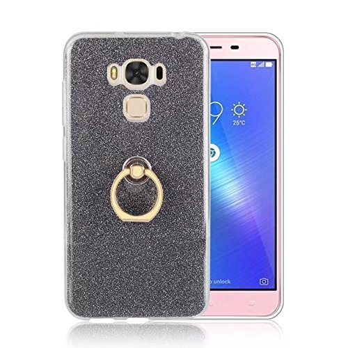 Luxus Bling Sparkle Style Case, Soft TPU [Silikon] Flexible Glitter Rückentasche [Anti Scratch] mit Fingerring Stand für Asus ZC553KL ZenFone 3 MAX ( Color : Blue ) Black