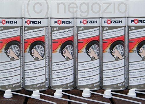PROFI HOHLRAUMVERSIEGELUNG Sparpack ! 6 x 500ml Förch Wachs-Spray L255, hellbraun , + 6 Hohlraumsonden 15cm -