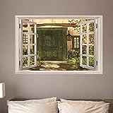 Fensterblick Leinwand Bild 3D Illusion - Fototapete - Poster - Fensterblick - Panorama Bilder - Dekoration - Europäische Retro Tür,140x100cm
