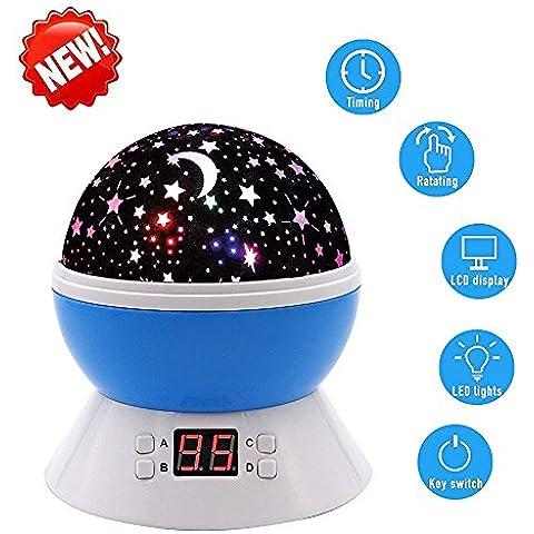 Nueva generación Star lámpara de iluminación LED de 4perlas 360grados Habitación Romántica giratoria Cosmos proyector de estrellas para la Navidad