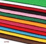 EMI Craft - 12 Filzplatten Bastelfilz Filz Farbmix 2 mm dick DIN A4 22x30 cm