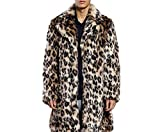 Battercake Pelzmantel Kunst Felljacke Herren Leopard Muster Winterjacke Mantel Lange Design Kunstpelz Bequeme Jacke Faux Fur (Color : Braun, Size : L)