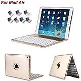 dingrich iPad air funda con teclado, teclado delgado Bluetooth Clamshell caso soporte integrado + libre Protector de pantalla y Stylu Folio Cover con 7colores LED retroiluminada para iPad Air
