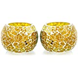Merarki Crystalined Handcrafted Tea Light Candle Holder With Yellow Color Mosaic Design For Lightining Home In This Festival Season Pack Of Two
