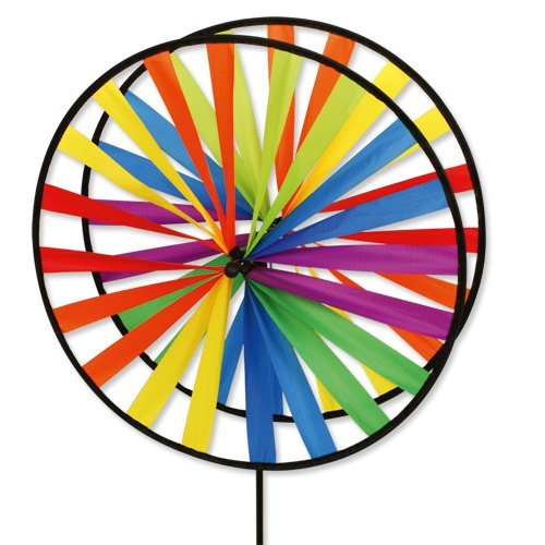 Windspiel - Magic Wheel Twin 45 - UV-beständig und wetterfest - Windräder: 2xØ45cm, Höhe: 112cm - inkl. Fiberglasstab