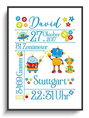 Kunstdruck DIN A4 Personalisiert Geburtsbild Roboter ohne Rahmen Kind Junge Mädchen Gastgeschenk Taufe Geburt 1. Kindergeburtstag Design Bunt Lustig