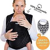 Portabebés hecho de algodón 100% - negro - portabebés de alta calidad para recién nacidos y bebés hasta 15 kg - incluye bolsa para guardar y babero GRATIS - precioso diseño de Makimaja®