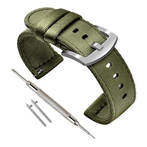 Vinband Strap Watch High Quality Nylon Strap Watches - 18mm, 20mm, 22mm, 24mm Strap Watch with Stainless Steel Buckle (18mm, Military Green)
