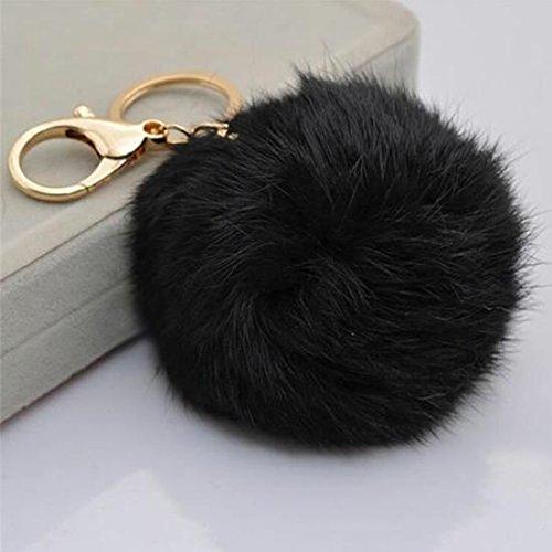 Primi lovely creative pompom ball ciondolo portachiavi borsa fascino portachiavi regalo, pelliccia ecologica, black, 8*3cm