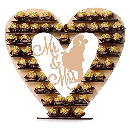 SH-Flying Herzförmiger Schokoladenständer, Hölzerner Liebes-Schokoladen-Rahmen-Dekorations-Schokoladen-Dekorations-Hochzeits-Schokolade, Süßigkeitsausstellungsstand, 33X30X0.3CM