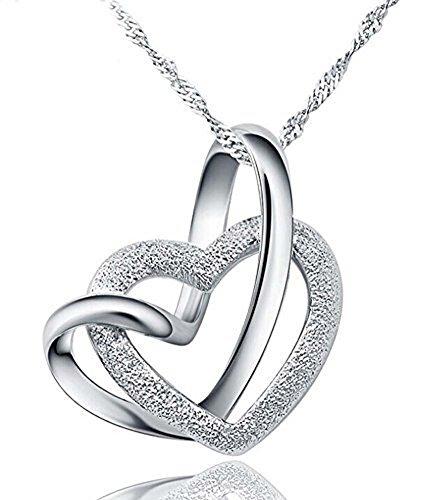 Collana Cuore, Donne Argento Sterling 925 A Lifetime Loving You collana del pendente incastro Cuore con catena 18 pollici