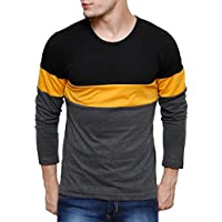 Cenizas Men's Plain Slim Fit T-Shirt (TSHA110BKGXL_Black Grey)