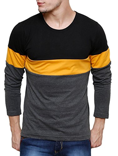 Cenizas Men's Full Sleeves Solid Stripes Round Neck Tshirt/T-Shirt