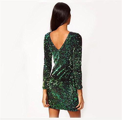 BAINASIQI Damen Sexy Paillettenkleid Minikleid Kurz Cocktailkleid Partykleid Abendkleid mit Rückenfrei V-Ausschnitt Design (Grün, S) - 2