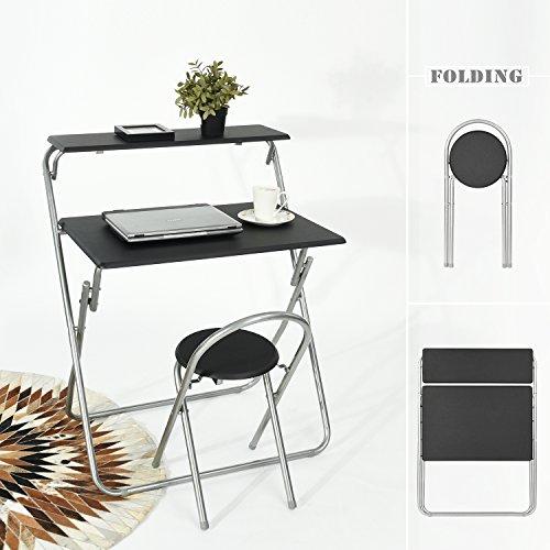 aingoo zusammenklappbar Computer Schreibtisch und Stuhl-Set für Kinder Student und kleine Space, schwarz schwarz 1 (Computer-schreibtisch Und Stuhl-set)