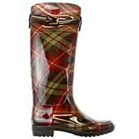 Lauren by Ralph Lauren Womens Rossalyn 2 PVC Knee High Rain Boot, Brown/Sage Multi, 8