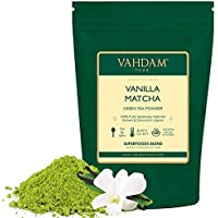 VAHDAM, té verde matcha de vainilla (50 porciones)   100% PURE Matcha Tea Powder de origen japonés   137x ANTIOXIDANTES   Té verde para bajar de peso   SUPER COMIDA de Japón, 100 g