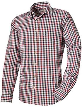 ALMSACH Trachtenhemd Mickhausen - Slim-Fit Herren Hemd mit Karo in rot-grün-blau aus 100 % Baumwolle - Größen...