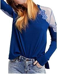 DEELIN LiquidacióN Blusa Moda Mujer Sexy Cuello Redondo De Encaje Patchwork Camiseta De Manga Larga Tops Blusa para Mujeres