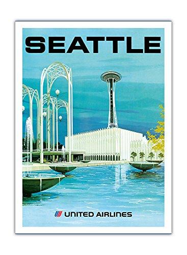 Seattle - Aussichtsturm und Unterhaltungszentrum - United Airlines - Vintage Retro Fluggesellschaft Reise Plakat Poster von Hollenbeck c.1970s - Premium 290gsm Giclée Kunstdruck - 30.5cm x - Poster United Airlines