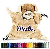 Sterntaler 3211619 - Schmusetuch Hund Hanno M mit Namen bestickt