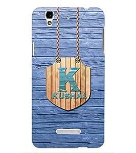 YuBingo Designer Printed Plastic Mobile Back Case Cover Panel for Yu Yureka ( Name Surname Kushal (Wood Finish Printed on Plastic) )