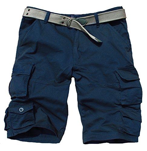 Fun Coolo Pantaloncini corti Bermuda Cargo short con tasconi laterali, con cintura blu navy XXXL 56