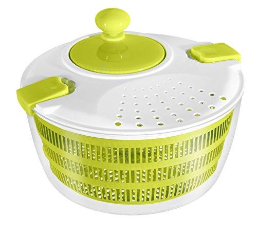 STONELINE Salatschleuder mit Kurbel, ideal zum Waschen und Trocknen von Salat, Gemüse und Kräutern Küchenhelfer, Kunststoff, grün, 24.3 cm