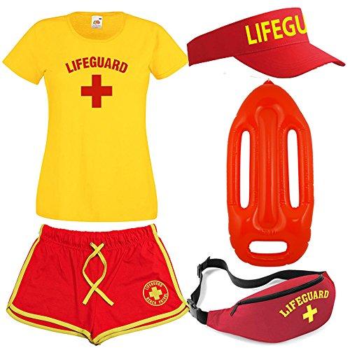 Damen Lifeguard T-Shirt Shorts Bauchtasche, Sonnenblende und Float 5-teiliges Set, ()