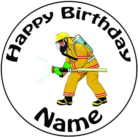 Personalizzato Cartoon pompiere–Topper per torta a pre-cut rotondo 8