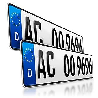 schildEVO 2 Kfz Kennzeichen | 520 x 110 mm | DIN-Zertifiziert - EU Wunschkennzeichen mit individueller Prägung | PKW Nummernschilder | Standard Autokennzeichen | Auto-Schilder | DHL-Versand
