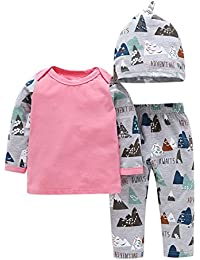 CHIC-CHIC Ensemble de Vêtements Bébé Fille Garçon 3PC Pyjama T-shirt Longue Manche + Bonnet + Pantalons Legging Mignon