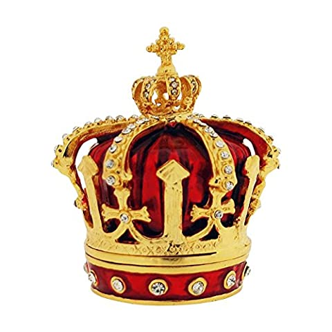 The Olivia Collection Rhinestone Set Trinket/Keepsake Red Crown + Branded Box