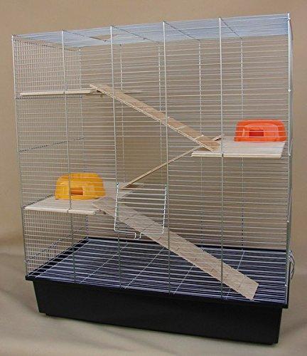 Chinchilla, Degu Ratten-Käfig 70x40x80cm Komplettset 3 Etagenkäfig schwarz