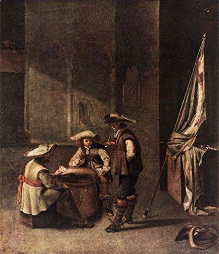 Kartenspielende Soldaten im Wachtstube von Jacob Duck - Handgemaltes Ölgemälde - 50 x 60 cm - 10697