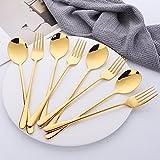 Buyer Star 8 Stück Gold Edelstahl Löffel und Gabeln Set Dessert Löffel Gabel Set Luxus Forks Spoons