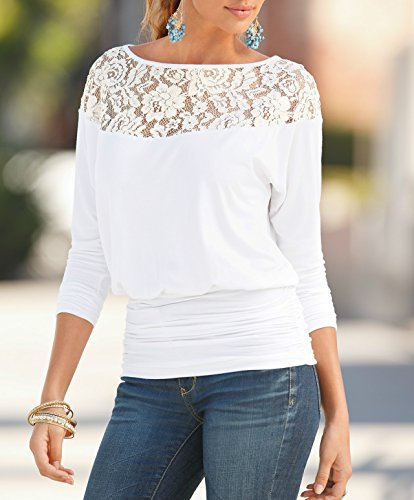 Jusfitsu Damen Loose Spitzen Shirts Langarm Tops Bluse Fledermaus Lace T Shirts Casual Oberteil Übergröße Weiß