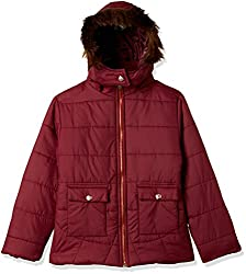 Qube By Fort Collins Girls Jacket (18104 fa_Maroon_28(8 - 9 years))