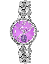Rich Club RC-2272 Chrome Plated Diamond Glass Analog Watch For Girls And Women