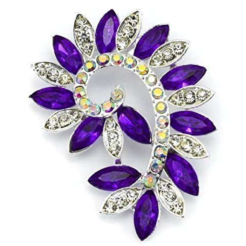Elixir77UK Silver and Purple Colour Flower Fashion Gift Pin Brooch With Plain and AB Crystals UK SELLER
