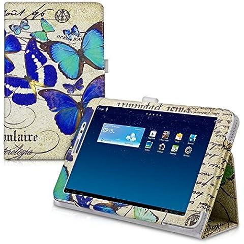 kwmobile Funda chic de cuero sintético para el Huawei MediaPad T1 8.0 Honor T1 en azul menta beige con una práctica función de soporte y Diseño mariposas vintage