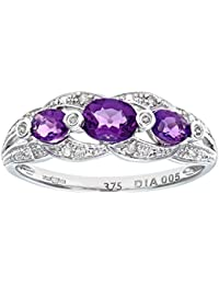 Naava Women's 9 ct White Gold Amethyst and Diamond Fig Eight Design Ring
