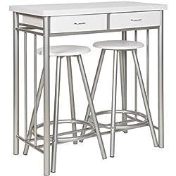 ts-ideen Juego de 3 piezas comedor mesa y tabueretes para la cocina marco de metal MDF blanco 83 x 80 cm